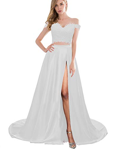 Lover Kiss White Lace Satin Prom Dresses with Slit Long Two Piece Off Shoulder Formal Evening Gown for Teens, White