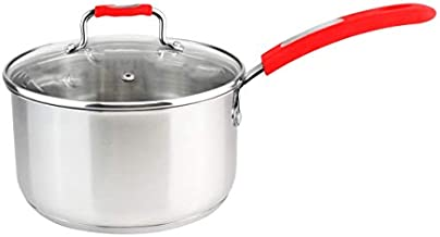 Millvado 2.4-Quart Stainless Steel Saucepan; Sauce Pan with Clear Glass Lid - For Boiling Milk and Cooking Sauce and Pasta - Urban Collection Mirrored Sauce Pots - Induction Ready - Red Handle