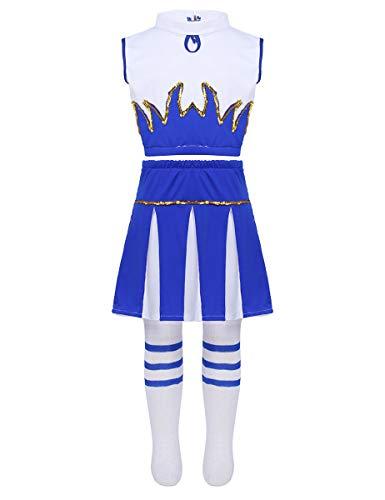 MSemis Disfraz de Animadora para Niñas Uniforme Porrista 3Pcs Chaleco Deportivo+ Falda Plisada+Medias Largas Conjuntos Deportivos Chicas 4-14 Años Blanco&Azul 12-14Years