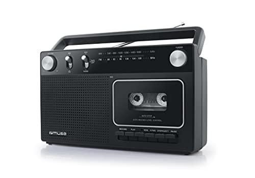 MUSE M-152 RC Retro Kassettenrekorder mit Aufnahme-Funktion, Batteriebetrieb möglich (UKW und MW-Tuner, AUX-Eingang, Teleskopantenne), schwarz