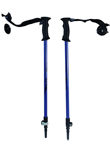 "WSD Ski Poles Telescopic Adjustable Collapsible Kids Junior Downhill/Alpine ski Poles Pair with Baskets 32"" to 42"" New (Blue)"