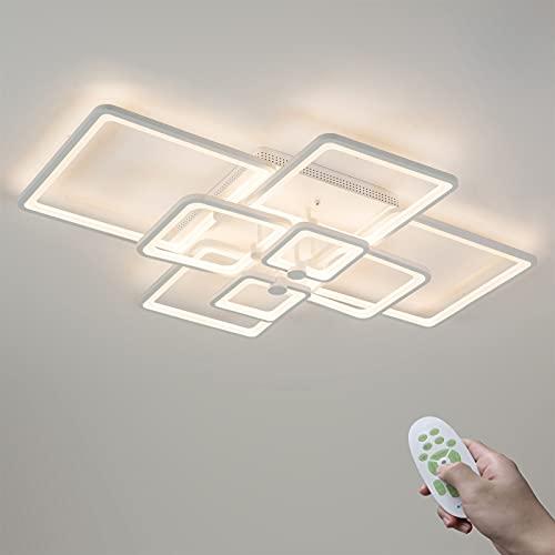 Moderno Blanco 120W Regulable LED Sala Lámpara de Techo con Mando a Distancia 8 Rectángulo Cuadro Diseño Dormitorio...