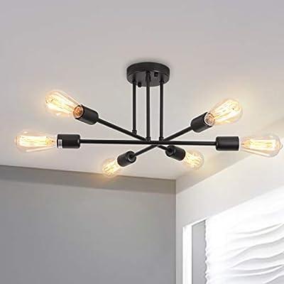 Semi Flush Sputnik Chandelier Ceiling Light 6-Light Modern Flush Mount Lighting Fixture,Black Hanging Pendant Lights for Bedroom Dining Room Living Room(Black)
