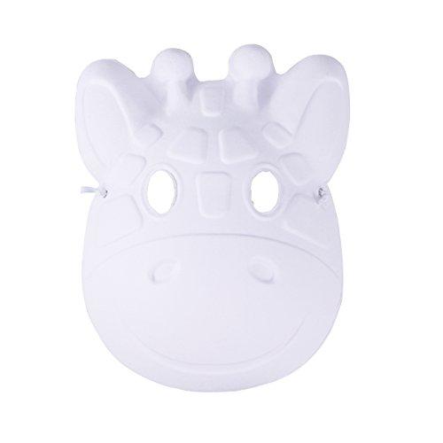 LUOEM Weihnachten malerei Maske vollgesichts kostüm zellstoff Leere weiße Maske für DIY Farbe 6 stücke (Fawn)