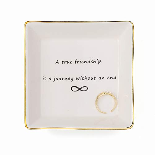 Joycuff Friend Jewelry Dish Home Decor Trinket Dish- Best Friendship Gifts-Cute Classy Fashion Gifts for Birthday Chrismas Women Men