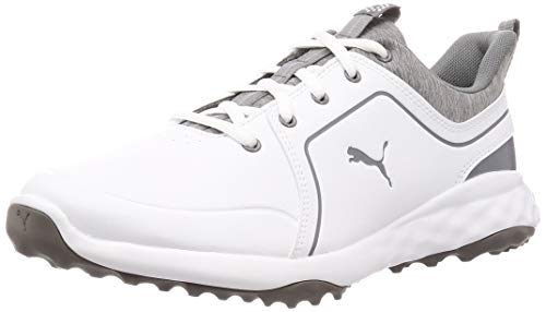 PUMA Grip Fusion 2.0, Zapatos de Golf Hombre, Blanco White/Quiet Shade, 39 EU