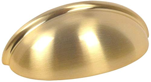 """10 Pack - Cosmas 783BB Brushed Brass Cabinet Hardware Bin Cup Drawer Cup Pull - 3"""" Inch (76mm) Hole Centers"""