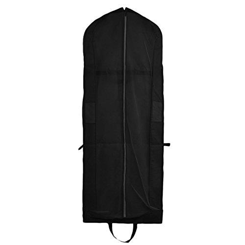 Cubierta de Ropa, Transpirable Bolsa de Trajes Larga para Vestidos de Novia o de Fiesta, Trajes, Abrigos, Funda para Ropa con Cremallera maneja (180 x 60 x 10 cm, Color Negro)