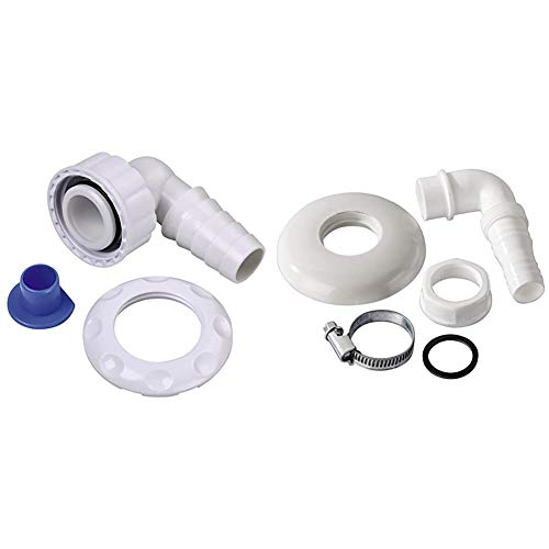 Xavax Geräteanschlusstülle (für Waschmaschinen und Geschirrspülmaschinen, 90 Grad, 20-23 mm Schlauchanschluss) & Geräteanschlusstülle für Wandeinbau-Siphons mit Reinigungsöffnung