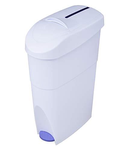Timblau - Tim-027012 - Contenedor de Residuos Sanitarios en Polipropileno Blanco con Pedal Azul, 15 litros