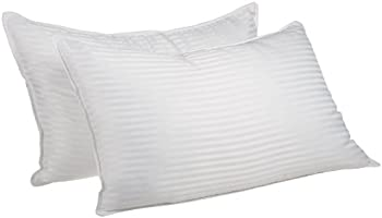 2 Pack Bed Pillows Down Alternative Premium Quality Striped, 2 Sizes King White PILLOW STRIPE (1CM) KING