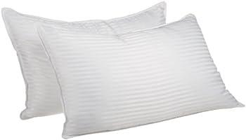 قطعتان من وسائد سرير بديلة ذات جودة فائقة بنمط مخطط، مقاسين , ابيض, King