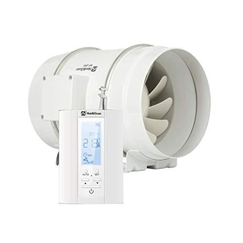 Hon&Guan ø200mm Rohrventilator - Abluftventilator Badlüfter mit Hygrostat und Timer, Intelligenter Controller mit Drei Geschwindigkeitssteuerung (ø200mm)