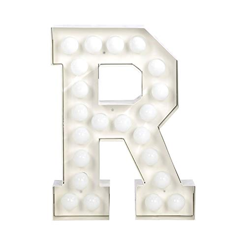 Seletti Vegaz Lettre en métal avec ampoules LED H cm 60 ‐ R, E27, blanc