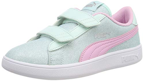 Puma Mädchen Smash V2 Glitz Glam V Ps Sneaker, Blau (Fair Aqua-Pale Pink-Puma Silver-Puma White), 34 EU