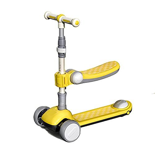 PTHZ Un Scooter Adecuado para niños Mayores de 3 años, Scooter Plegable Ajustable en Altura con Asiento, 3 Ruedas de PU parpadeantes, Freno Trasero, niños/niñas,Amarillo