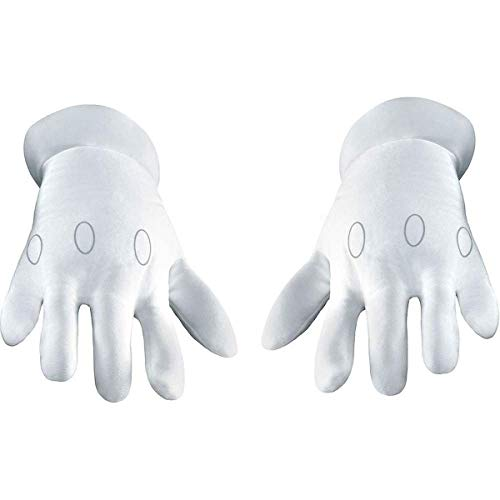 Disguise Mens Nintendo Super Mario Brothers Adult Gloves Costume Accessory, White, One Size