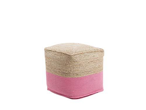 Beliani Boho Pouf Baumwolle Jute quadratisch beige/rosa Kirama