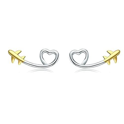 HDZW 1 Paio Squisito personalità orecchino Gioielli Cavo Cuore Aereo Aeroplano Forma Oro Orecchini Regalo di Compleanno per Le Donne Accessori 7.24 (Color : Silver, Size : 1 Pair)