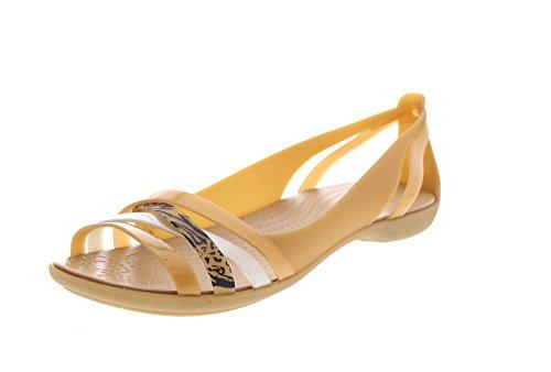 crocs - Isabella Graphic Huarache Flat - Dark Gold, Größe:37-38 EU