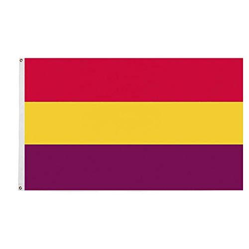 Ericraft Bandera Republicana española Grande 90x150cms Bandera república de España balcón para Exterior Reforzada y con 2 Ojales metálicos, Bandera España república Grande, Banderas españolas