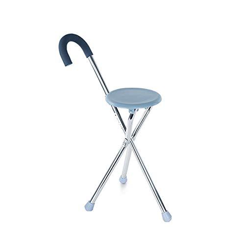 ZhuFengshop Oudere krukken stoel met krukje wandelstok vierbenige stoel antislip stabiliteit