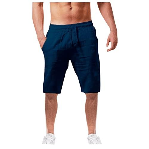 riou Algodón y Lino Cortos Pantalones Casuales para Hombre,Pantalones Transpirables de Verano de Color sólido,pantalones cortos de chándal,diseño elástico con cordón y Bolsillos-2021 nuevo