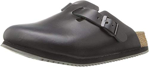 Birkenstock Boston 60101, Zuecos De Piel Natural Unisex Adulto, Negro, 40 EU