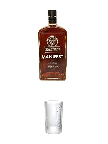Jägermeister Manifest Limitiert 1,0 Liter + Jägermeister Frozen Club Shot Glas 4 cl 1 Stück