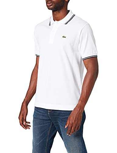 Lacoste Herren PH2384 Polohemd, Blanc/Marine, M