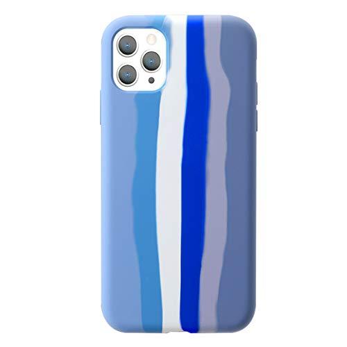 Yesun K Kreative Süße Camouflage (Camo) Regenbogen-Streifen Linie für iPhone 11 Flüssige Silikon Schutzhülle für Mädchen, Frauen, Männer (Blau)