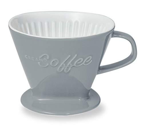 Creano Porzellan Kaffeefilter (Steingrau), Filter Größe 4 für Filtertüten Gr. 1x4, ca. 800gr Gewicht für extrem sicheren Stand, Achtung schwer, in 6 Farben erhältlich