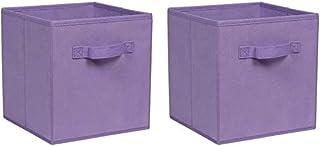 yxx Boîte Rangement Boîte de Rangement Ensemble de 2 Cube Boîte de Rangement Pliable Underbed Boîte de Rangement Set avec ...