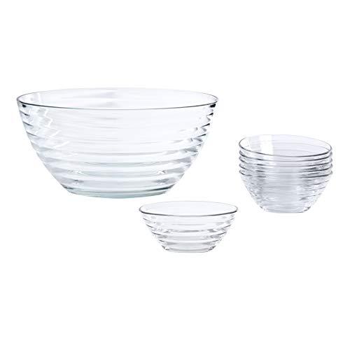 Bormioli Viva glazen schalen, 7-delig, inhoud 0,3 l en 5 l, veelzijdig inzetbaar als salade-, dessert- of mueslischalen, hoogwaardige kwaliteit