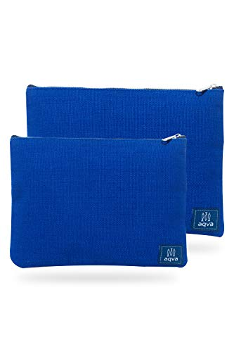 AQVA Pack of 2 Cotton Canvas Multipurpose Cosmetic Organizer Bag With Zipper - Water Resistant Travel Toiletry Pouch, DIY Craft Bag - Perfect for Stationary, Outdoor Activity (Large, Blue)