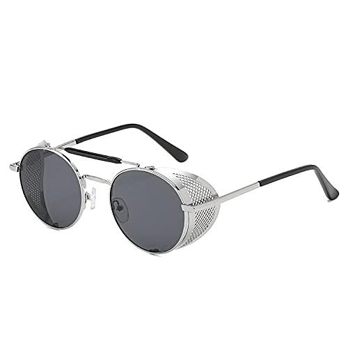 AMFG Steampunk Sunglasses de sol personalidad Gafas de sol Redondo Retro Gafas de sol (Color : D)