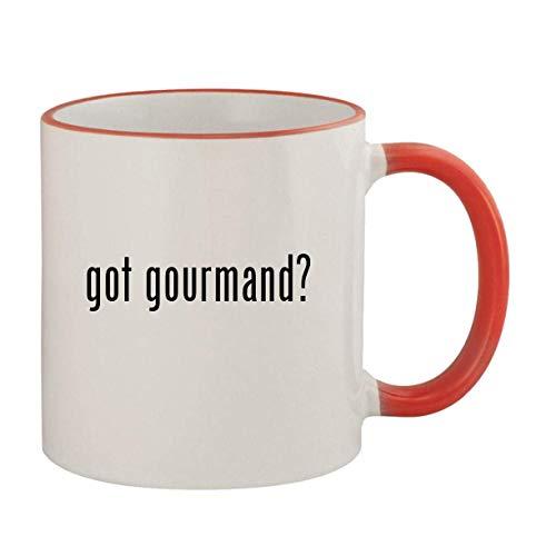 got gourmand? - 11oz Ceramic Colored Rim & Handle Coffee Mug, Red