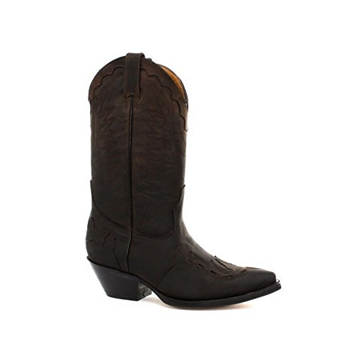 Grinders Arizonas Hoch Unisex Leder Cuban Heel Cowboy Stiefel Braun 41