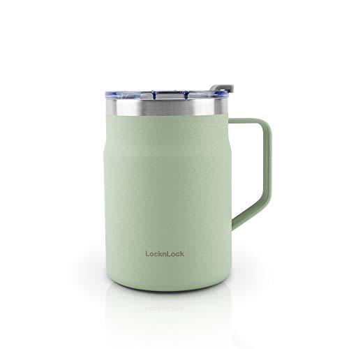 LOCK & LOCK Metro Mug - Thermobecher für Kaffee, Tee und andere heiße und kalte Getränke - Vakuum Isolier-Becher mit Deckel - 475 ml - Grün
