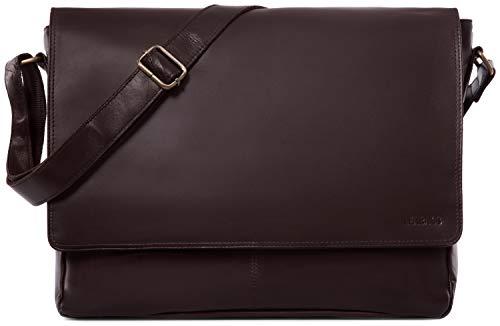LEABAGS Acapulco Umhängetasche Aktentasche Laptoptasche 15 Zoll aus echtem Leder im Vintage Look - Choco
