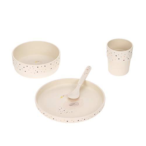 LÄSSIG Kinder Geschirr Set Teller Schüssel Becher Löffel Kindergeschirr BPA-frei/Dish Set Little Water Swan