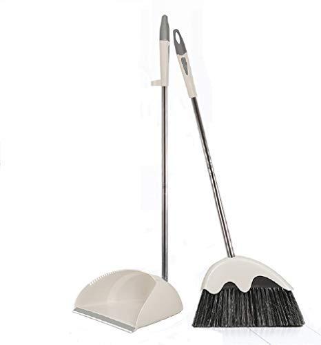 Aufrecht Stehend Edelstahl Kehrschaufel und Besen Home und Office Sweep Combo Good Grip Sweeper (cremefarben)