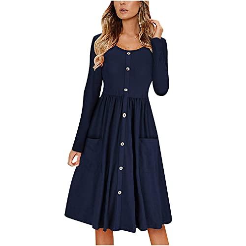 Vestido casual de manga larga para mujer, con botones, cuello en O, rodilla, para Halloween, fiesta, sexy, suelto, para niñas, ropa para el hogar, azul marino, L