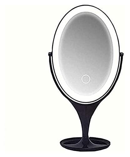 Espejo de espejo pequeño espejo portátil USB LED CARGA DE DESCUENTRE DE ENCENDIMIENTO LUZ DE LUZ DE LUZ SMARTE DE LUZ DE UNIDAD DE LUZ OVAL DE AJUSTE,DORMITORIO SUPERIOR HASTAJE Cualquier espejo de ma