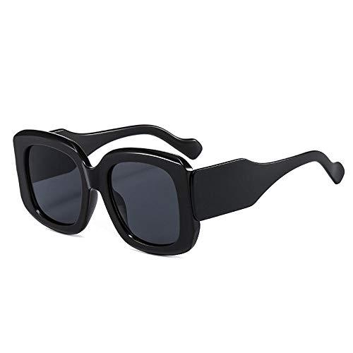 DLSM Gafas de Sol cuadradas de Gran tamaño Moda Femenino Vintage Gafas degradados Hombres Tendencia Verde Púrpura Gafas de Sol Sombras UV400 Playa Fiesta, Ciclismo-Gris Negro