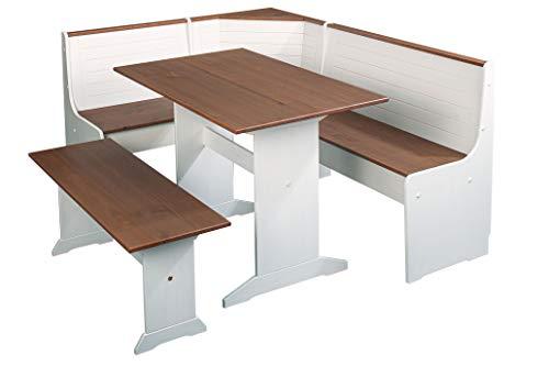 Inter Link Essecke Sitzecke Küchen-Eckbank mit Stauraum Kiefer Massivholz Weiss Sepia braun lackiert, 171 x 86 x 131 cm