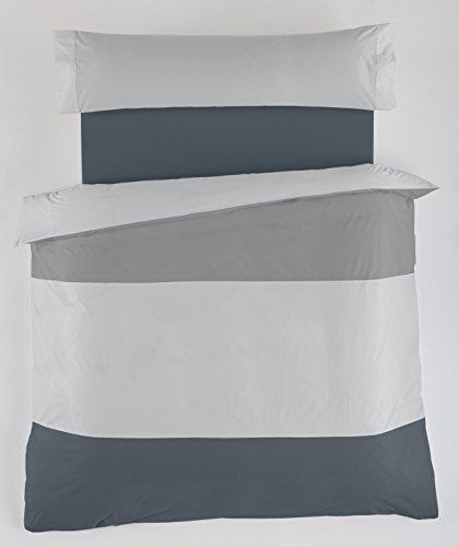 ESTELA - Juego de Funda nórdica Lisos Tricolor - Colores: Plomo-Perla-Gris (3 Piezas) - Cama de 90 cm. - 50% Algodón / 50% Poliéster - 144 Hilos