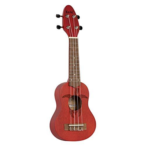 ORTEGA KEIKI Ukulele 4 String - Sopranino Tortiose/Turtle Lasering/KEIKI Headstock/A D F# B/Fire Red