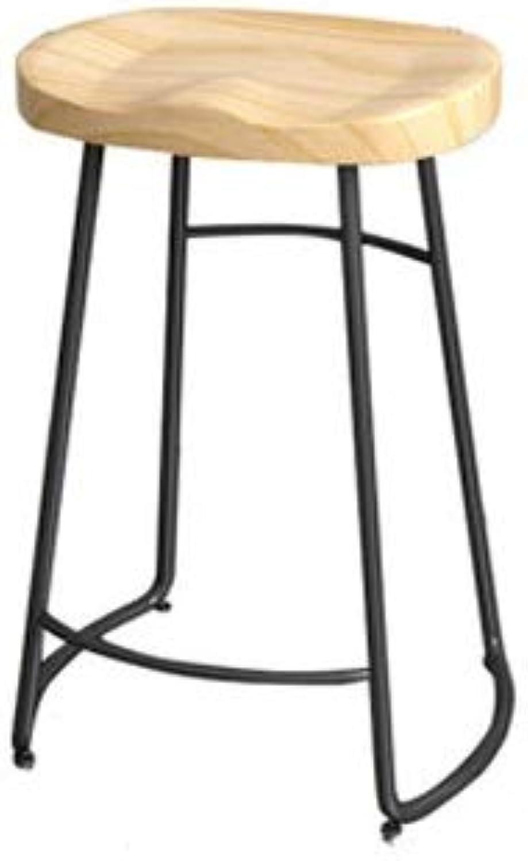 Barhocker Retro Esszimmerstuhl Holz Top Metallbeine Design Küche Restaurant Bar Hoher Hocker (Sitzhhe  45 65   75CM) (Farbe   schwarz Leg, gre   65cm)