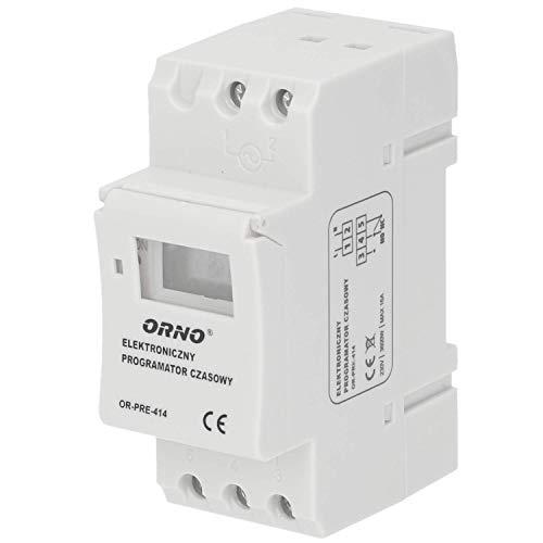 ORNO PRE-414 Elektronische Zeitschaltuhr für DIN-Schiene, 3600W, 16 Ein / Aus-Programme